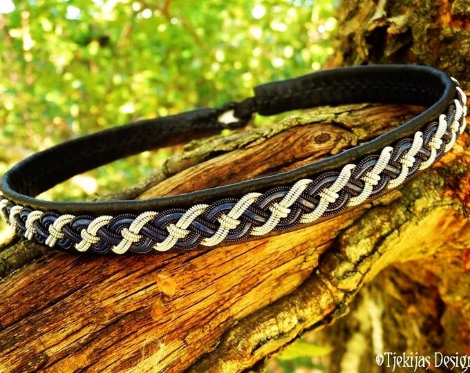 Sami necklace, NIFLHEIM viking leather choker, custom handmade black and blue with black copper and pewter braid