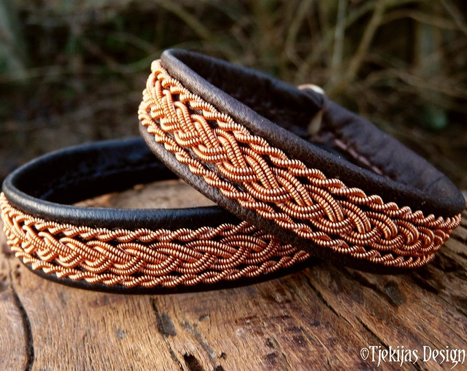 Featured listing image: Nordic Sami bracelet, MJOLNIR reindeer leather cuff with copper braids