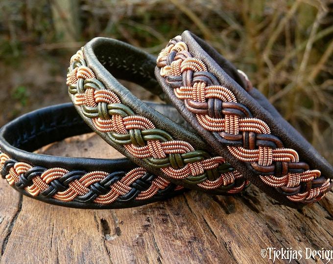 Viking Sami copper bracelet, VANAGANDR pagan leather cuff