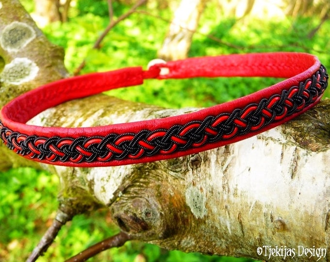 Gothic viking choker, NIFLHEIM handcrafted Sami leather necklace in red leather with black copper braid