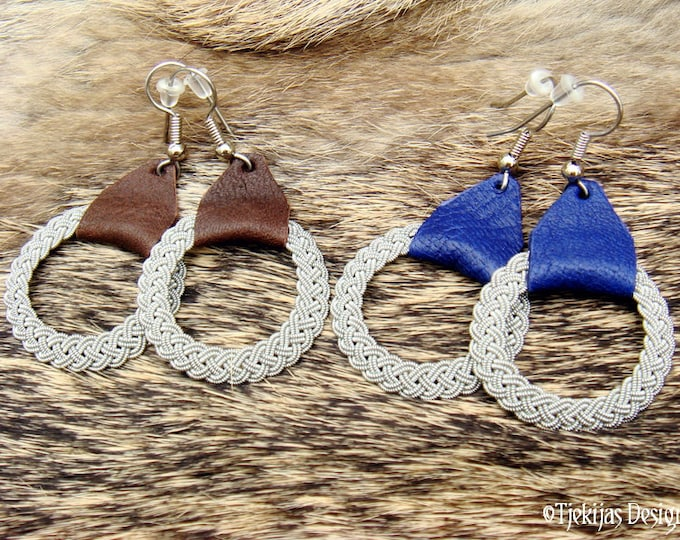 Norse viking earrings, ASGARD handmade Sami earrings in braided pewter and reindeer leather, 30 colors to choose from