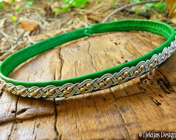 Viking leather choker with 14K gold beads in pewter braid, BIFROST Sami necklace in emerald lambskin