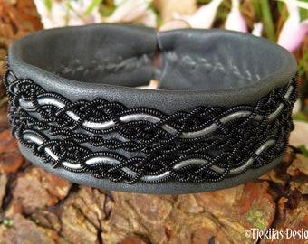 Goth cuff RAVEN black copper and leather Saami bracelet