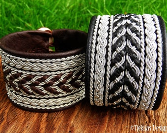 Swedish Lapland Sami cuff bracelet HULDRA leather and pewter Nordic folklore