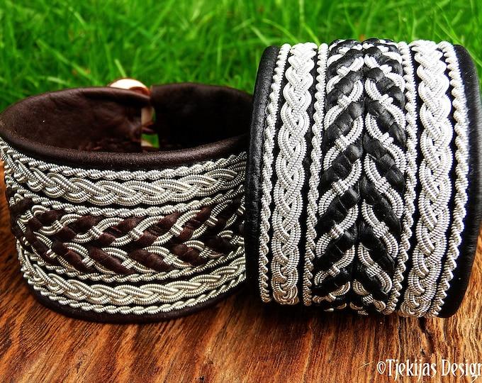 Swedish Lapland bracelet HULDRA leather and pewter Sami art