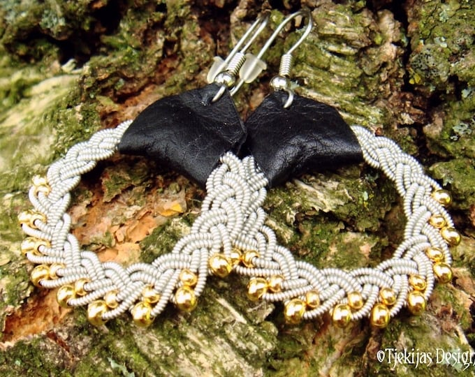 Swedish Sami viking earrings, GULDFAXE with 14k gold in pewter braids, and black reindeer leather