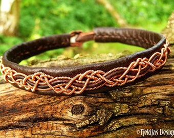 Pagan leather and copper Sami bracelet cuff HUGINN