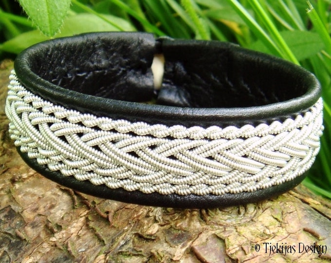 Norse HEIDRUN black viking bracelet, handcrafted Sami pewter and reindeer leather cuff bracelet