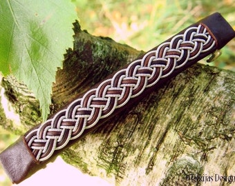 Viking barrette in sustainable tanned reindeer leather, FREKI Sami hair clip with celtic pewter braid