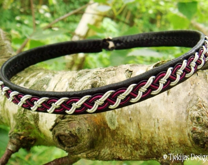 Viking choker, pagan collar, NIFLHEIM Sami necklace with black, silver and magenta braid on black reindeer leather, handmade norse jewelry