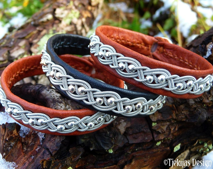 Lapland leather bracelet BIFROST, with Sterling silver beads