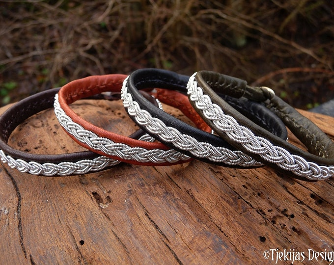 Sami viking bracelet LIDSKJALV unisex cuff in reindeer leather or lambskin