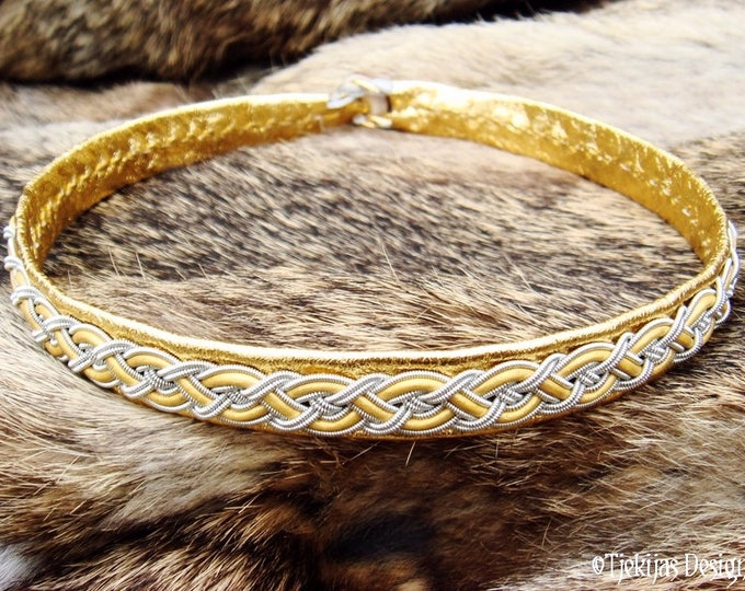Viking Sami necklace NIFLHEIM, gold leather choker decorated with pewter braid, custom handmade for real shieldmaidens