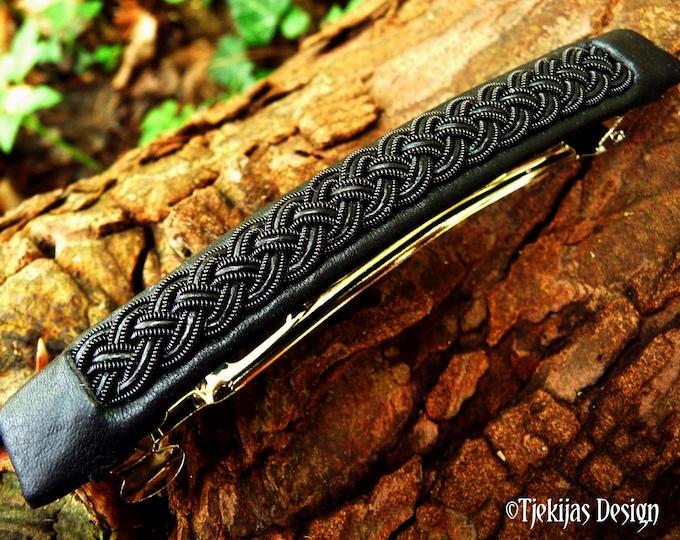 Gothic Sami hair clip, Nordic shield maiden viking barrette with black copper braid