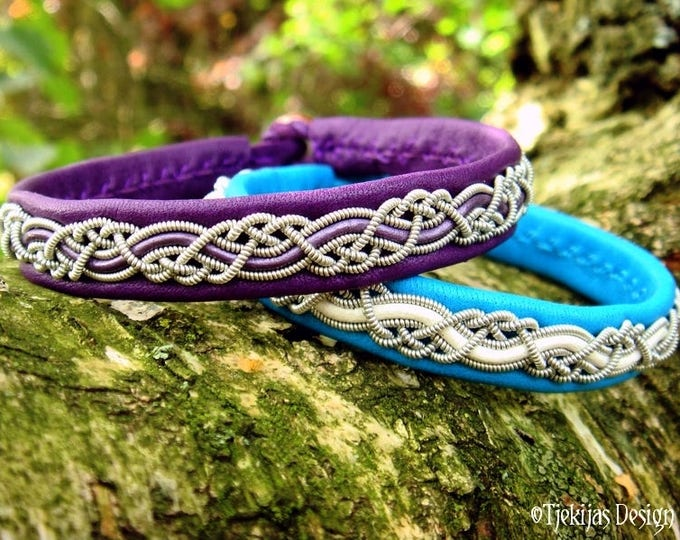 Vikings and shieldmaidens leather bracelet, HUGINN cuff, handmade in purple deerskin and pewter braid