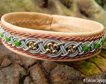 Viking Sami bracelet, FREYA celtic leather cuff, handmade with copper, pewter and gold beads on natural deerskin