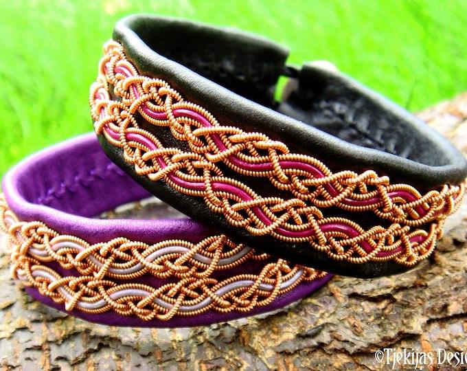 Sami copper and leather cuff bracelet MUNINN