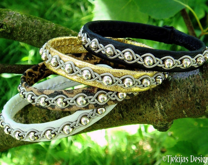 Pagan bracelet GJALL leather cuff with Sterling silver beads