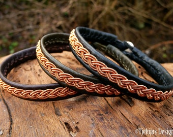 Sami leather wristband, LIDSKJALV copper braid viking cuff