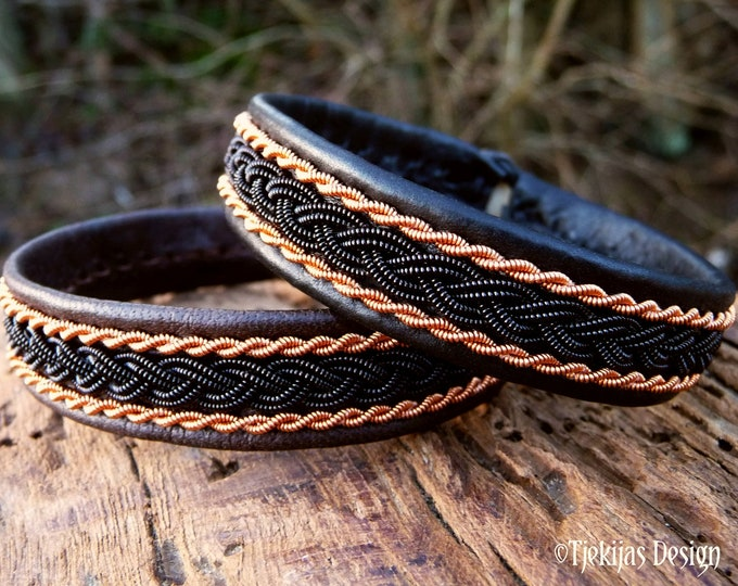 Pagan viking leather cuff MJOLNIR bracelet with black and copper braids