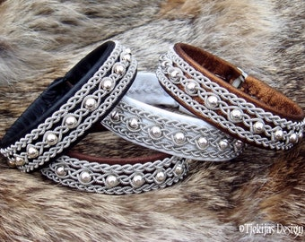 Sami bracelet, YDUN leather viking cuff, custom handmade Nordic jewelry, with sterling silver beads in pewter braids