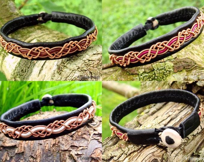 HUGINN copper viking Sami bracelet in black Leather for men and women, custom handmade to your size and color