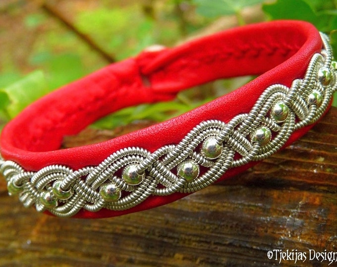 Sami bracelet, BIFROST Celtic viking cuff with Sterling silver beads in pewter braid, on red reindeer leather.