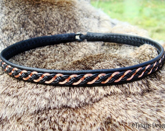 Viking necklace, DRAUPNIR copper and black leather Sami choker, custom handmade to Your size and color