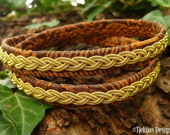Sami Folklore bracelet LIDSKJALV leather wrap with 14k gold braid