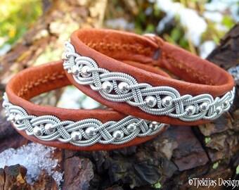 Viking silver and leather cuff, BIFROST Swedish Sami bracelet, custom handmade in bark tanned reindeer skin with tin braid