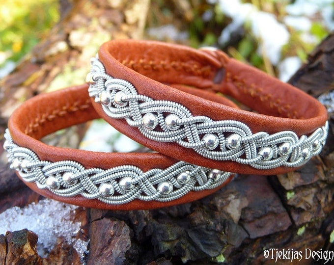 Viking Silver Leather Cuff BIFROST Swedish Sami Bracelet Custom Handmade in Cognac Bark Tanned Reindeer Leather, Pewter and Silver Beads