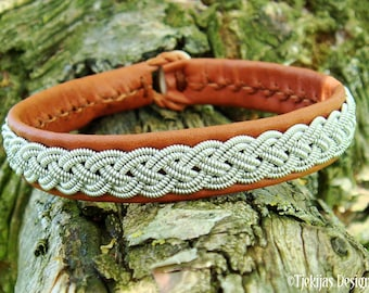 Lapland bracelet ASGARD pewter embroidery on reindeer leather