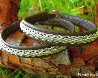 Sami bracelet, THOR viking leather tin armband, handcrafted in olive deerskin, decorated with pewter braid