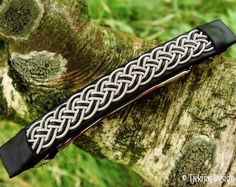 Viking hair barrette, large FREKI black leather hair clip with pewter braid, handmade Nordic design