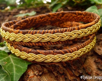 Celtic gold and leather wrap bracelet, Sami viking wristband, LIDSKJALV custom handmade to your wishes