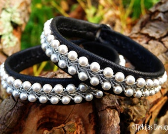 Pearl and leather pagan celtic bracelet SKINFAXE Sami style pewter cuff