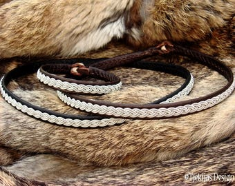 Sami viking necklace, lambskin or reindeer leather choker in your color and size, LIDSKJALV handmade norse collar with pewter braid