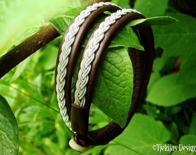 Tin and Leather wrap viking bracelet, LIDSKJALV Sami folklore