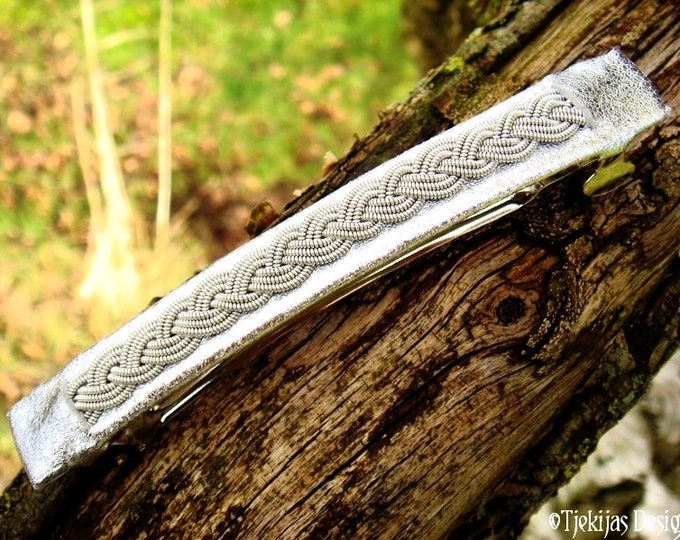 Viking hair clip SLEIPNIR, Swedish Sami barrette with pewter braid on Lapland reindeer leather