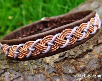 Lapland reindeer copper and leather bracelet VALHAL Sami craft cuff