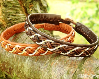 Handmade Sterling silver and leather bracelet DRAUPNIR