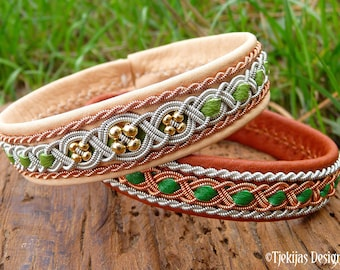Lapland leather bracelet FREYA, 14k gold beads in pewter and copper braids