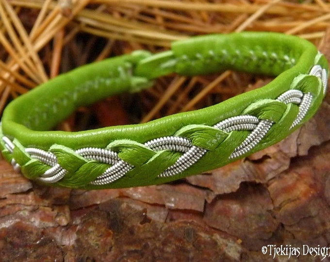 Sami bracelet, ODIN viking armband in apple green lambskin, decorated with pewter braid, handmade Norse jewelry