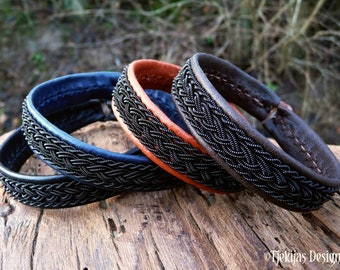 Sami gothic leather bracelet MJOLNIR with black copper braids