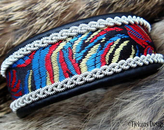 Boho Silk brocade viking leather cuff IDAVANG