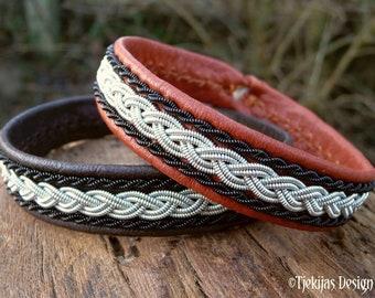Leather Sami bracelet MJOLNIR pewter and black copper viking cuff