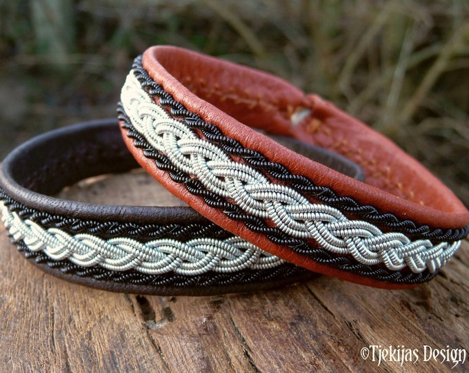 Leather Sami bracelet MJOLNIR pewter and black copper viking cuff