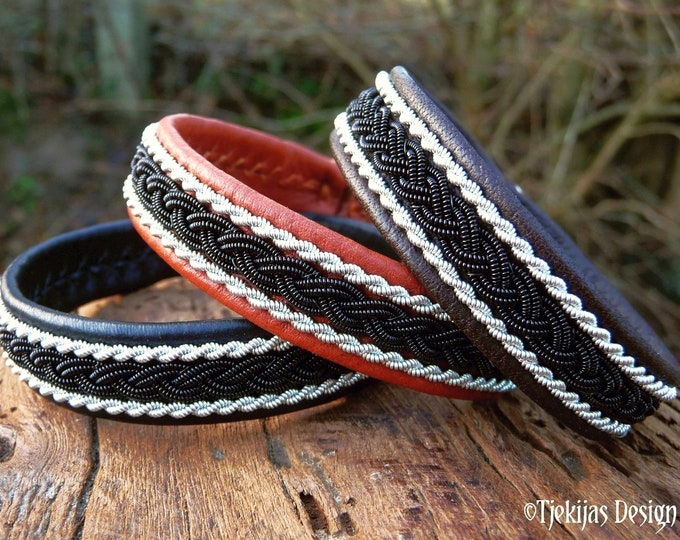 Sami MJOLNIR bracelet for vikings and shieldmaidens - Leather cuff with black copper and pewter braids