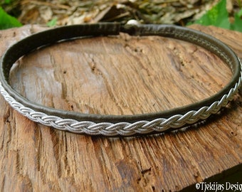 Swedish Sami necklace in olive army green leather, with pewter silver braid, LIDSKJALV viking choker, custom handmade