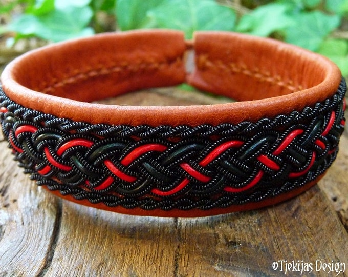 Gothic Sami bracelet, GIMLE Norse viking cuff, with black red braid on cognac brown leather